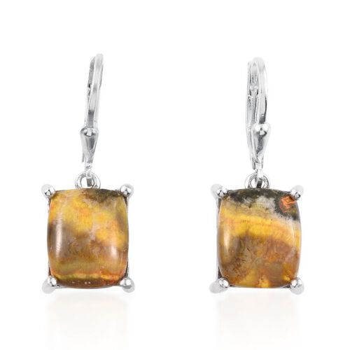 Bumble Bee Jasper (Bgt) Lever Back Earrings in Platinum Overlay Sterling Silver 8.000 Ct.