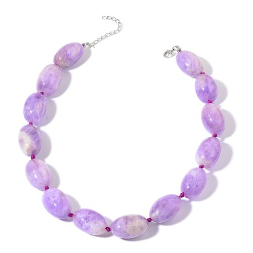 Amethyst Necklace (Size 18 with 2 inch Extender) in Silver Tone 720.000 Ct.