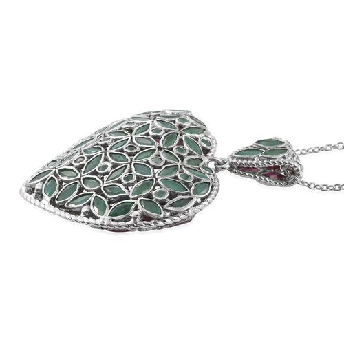 AAA African Ruby (Mrq), AAA Brazilian Emerald Heart Pendant with Chain in Platinum Overlay Sterling Silver 16.000 Ct.