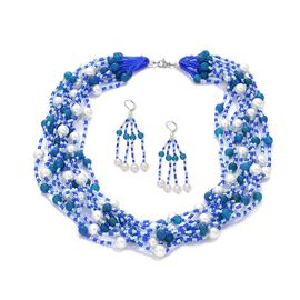 Jewels of India Glass Pearl, Blue Agate and Glass Necklace (Size 20) and Lever Back Earrings in Silver Tone 342.940 Ct.