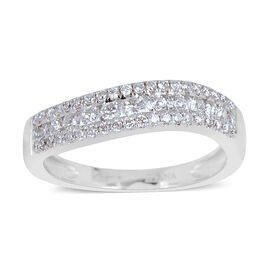 ILIANA 18K W Gold IGI Certified Diamond (Rnd) (SI/ F-H) Wave Ring 0.500 Ct.
