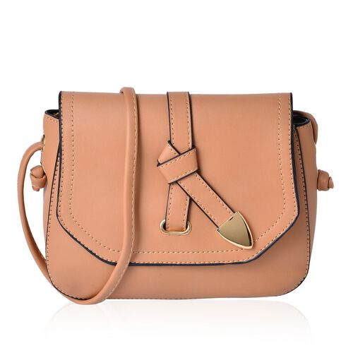 Beige Colour Crossbody Bag with Shoulder Strap (Size 21.5x17x6.5 Cm)