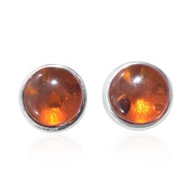 Amber (Rnd) Stud Earrings (with Push Back) in Platinum Overlay Sterling Silver 1.250 Ct.