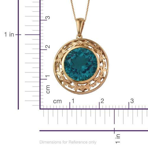 Capri Blue Quartz (Rnd) Pendant With Chain in 14K Gold Overlay Sterling Silver 10.000 Ct.