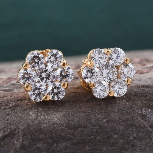 J Francis - 14K Gold Overlay Sterling Silver (Rnd) Floral Stud Earrings (with Push Back) Made with SWAROVSKI ZIRCONIA