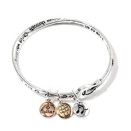 Triple Charm Bangle (Size 8) in Gold, Rose and Silver Tone