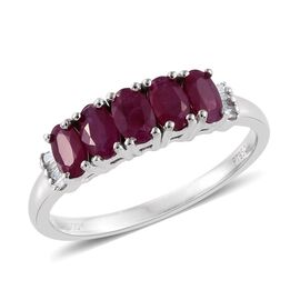 RHAPSODY 950 Platinum 1.25 Carat Pigeon Blood Burmese Ruby  5 Stone Ring With Diamond