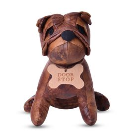 Suede Dog Door Stopper with Polyester and Stone Filling (Size 22x20 Cm)