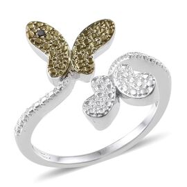 Green Diamond (Rnd) Butterfly Crossover Ring in Platinum Overlay Sterling Silver
