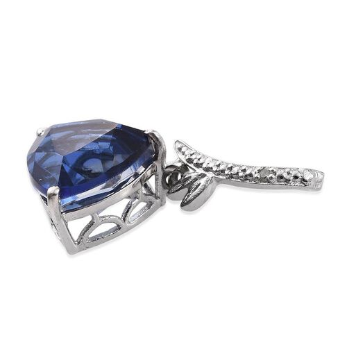 Ceylon Colour Quartz (Trl 3.25 Ct), Diamond Pendant in Platinum Overlay Sterling Silver 3.260 Ct.