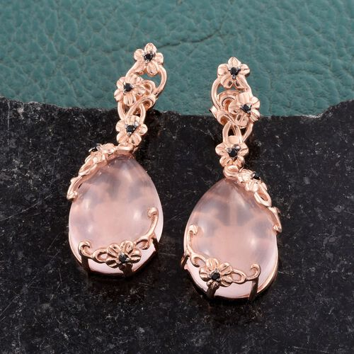 GP Rose Quartz (Pear), Boi Ploir Black Spinel and Kanchanaburi Blue Sapphire Earrings (with Push Back) in Rose Gold Overlay Sterling Silver 25.250 Ct.