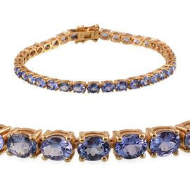 AA Tanzanite (Ovl) Bracelet (Size 8) in 14K Gold Overlay Sterling Silver 12.000 Ct.