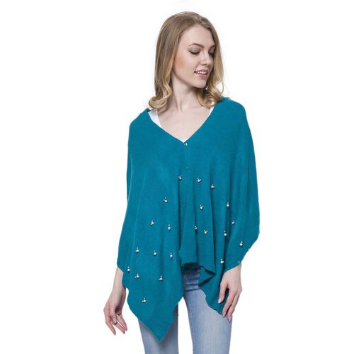 Blue Colour Poncho Embellished with Simulated Pearls (Size 180x45 Cm)
