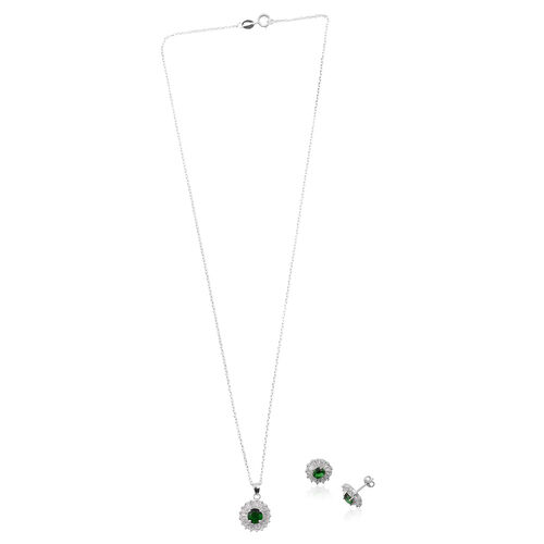 ELANZA AAA Simulated Emerald (Rnd), Simulated Diamond Pendant With Chain and Stud Earrings (with Push Back) in Rhodium Plated Sterling Silver