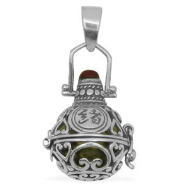 (Option 2) Royal Bali Collection Red Ethiopian Opal (Rnd) Harmony Ball Pendant in Sterling Silver