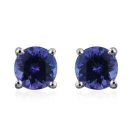 9K W Gold Tanzanite (Rnd) Stud Earrings (with Push Back) 1.000 Ct.