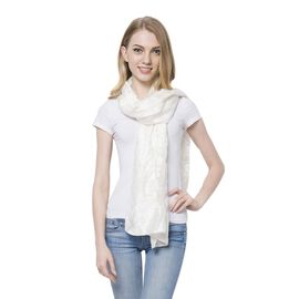 New For Season - White Colour Scarf (Size 185x65 Cm)