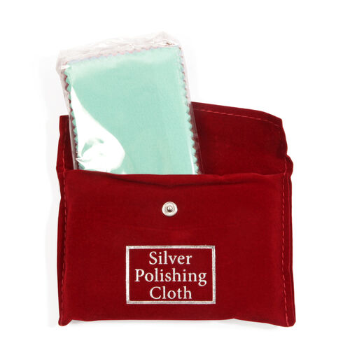 30 Pc Set Multi Color High Quality Cotton Silver Polishing Cloth with Anti-Tarnish Treatment (Size 10.8x6.8 Cm) - RED