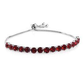 J Francis Crystal from Swarovski - Light Siam Crystal (Rnd) Adjustable Bracelet (Size 7.5) in ION Plated Platinum Bond