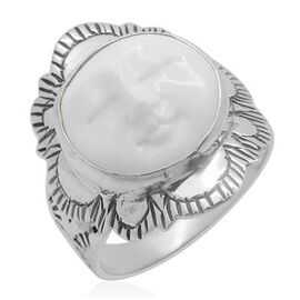 Princess Bali Collection OX Bone Carved Face (Rnd) Ring in Sterling Silver 5.150 Ct.