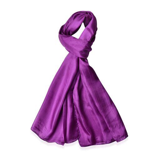 100% Mulberry Silk Purple Colour Scarf (Size 180X100 Cm)