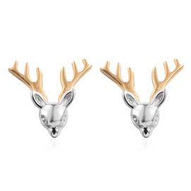 Platinum and Yellow Gold Overlay Sterling Silver Reindeer Stud Earrings (with Push Back)