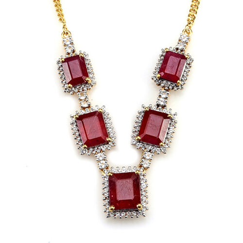 Close Out Deals Celebrity African Ruby (3.25 Ct), White Topaz 14K Gold Overlay Sterling Silver Necklace (Size 18.00) 15.00 Ct.