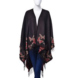 Gold and Red Colour Butterfly Pattern Black Colour Poncho (Size 130x75 Cm)