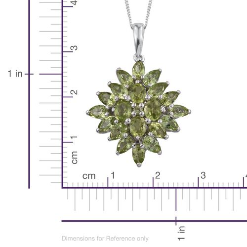 AA Hebei Peridot (Ovl) Pendant With Chain in Platinum Overlay Sterling Silver 5.250 Ct.