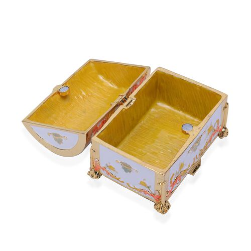 White and Gold Enameled Trunk Trinket Box