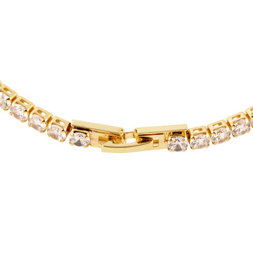 Close Out Deal - AAA Simulated Diamond (Rnd) Tennis Necklace (Size 18) in Gold Bond