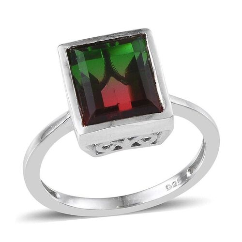 Tourmaline Colour Quartz (Bgt) Solitaire Ring in Platinum Overlay Sterling Silver 4.250 Ct.