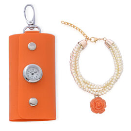 Tangerine Colour Key Chain Bag with STRADA Japanese Movement Water Resistant Watch in Silver Tone and Tangerine Rose Bracelet with White Glass Pearl in Gold Tone (Size 7.50 with Extender)