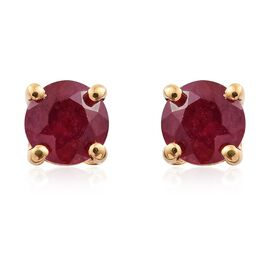 African Ruby 0.75 ct. Solitaire Silver Stud Earrings with Push Back in Gold Overlay