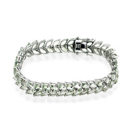 Green Amethyst (Mrq) Bracelet in Rhodium Plated Sterling Silver (Size 8) 30.000 Ct.