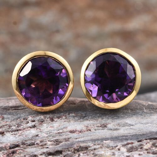 AA Lusaka Amethyst (Rnd) Stud Earrings (with Push Back) in 14K Gold Overlay Sterling Silver 3.500 Ct.
