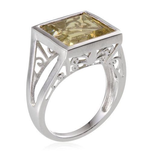 Brazilian Green Gold Quartz (Bgt) Solitaire Ring in Platinum Overlay Sterling Silver 7.750 Ct.