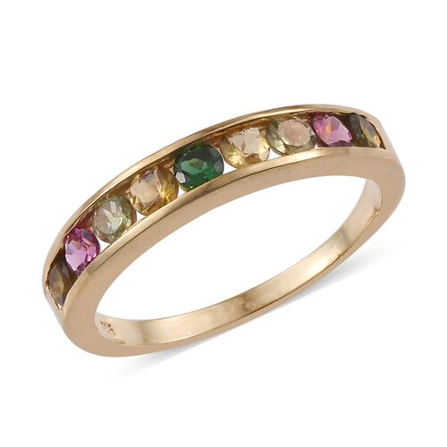 Rainbow Tourmaline (Rnd) Half Eternity Band Ring in 14K Gold Overlay Sterling Silver 1.000 Ct.