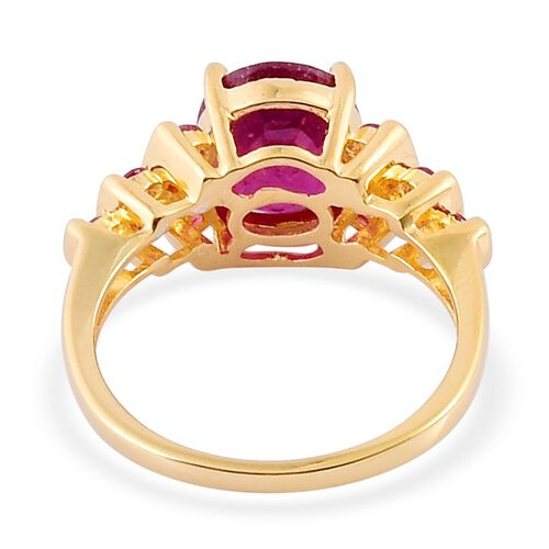 African Ruby (Ovl 3.75 Ct), Thai Ruby Ring in Yellow Gold Overlay Sterling Silver 4.250 Ct.