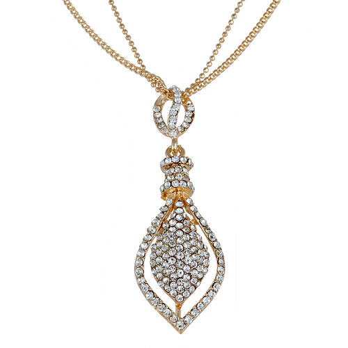 White Austrian Crystal Pendant With Chain and Earrings (with Push Back) in Gold Tone