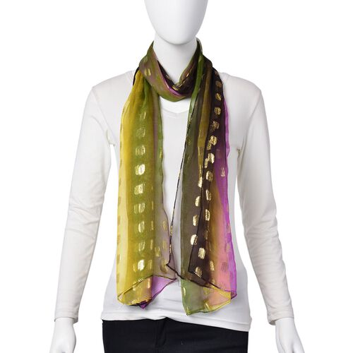100% Mulberry Silk Golden Dot Pattern Purple, Yellow and Multi Colour Scarf (Size 180X55 Cm)