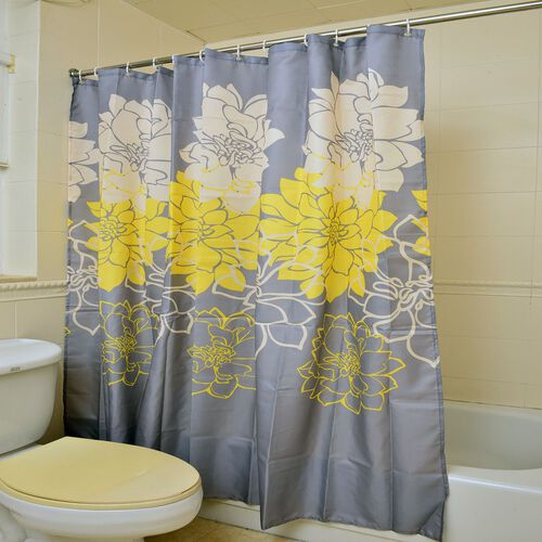 Grey, Yellow and White Colour Floral Pattern Water - Proof Shower Curtain with 12 Hooks (Size 180x180 Cm)