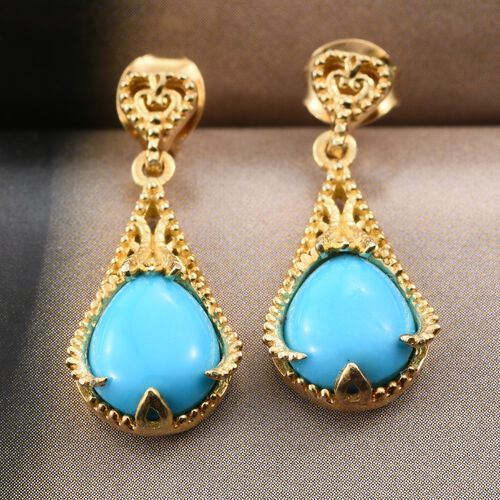 Arizona Sleeping Beauty Turquoise (Pear) Earrings (with Push Back) in 14K Gold Overlay Sterling Silver 2.750 Ct.