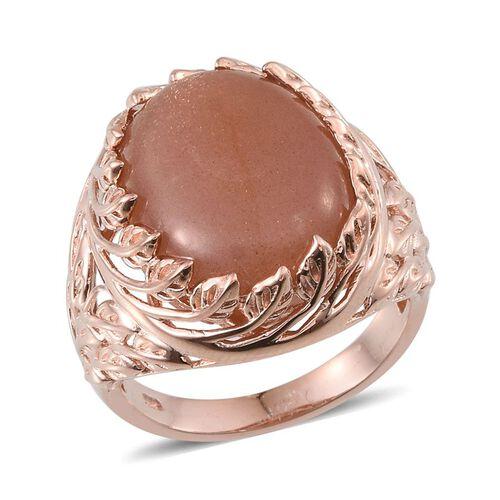Morogoro Peach Sunstone (Ovl) Ring in Rose Gold Overlay Sterling Silver 16.750 Ct.