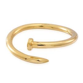 DESIGNER 14K Gold Overlay Sterling Silver Nail Bangle (Size 7.5), Silver wt 21.56 Gms.