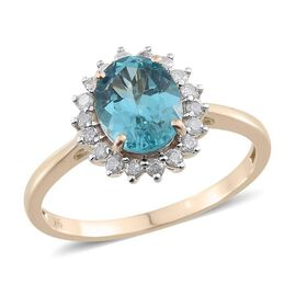 9K Y Gold Paraibe Apatite (Ovl 2.25 Ct), Diamond Ring 2.600 Ct.