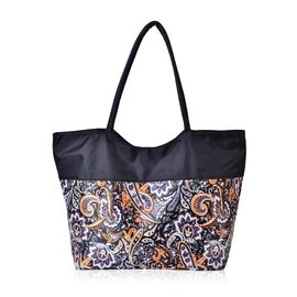 Black and Multi Colour Paisley Pattern Tote Bag (Size 52x38x32x15.5 Cm)