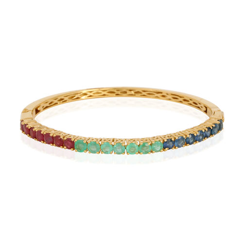 African Ruby (Rnd), Kanchanaburi Blue Sapphire and Kagem Zambian Emerald Bangle (Size 7) in 14K Gold Overlay Sterling Silver 6.000 Ct.