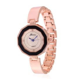 GENOA Japanese Movement MOP Dial with White Austrian Crystal Water Restinat Watch in Rose Gold Tone with Stainless Steel Back and Chain Strap