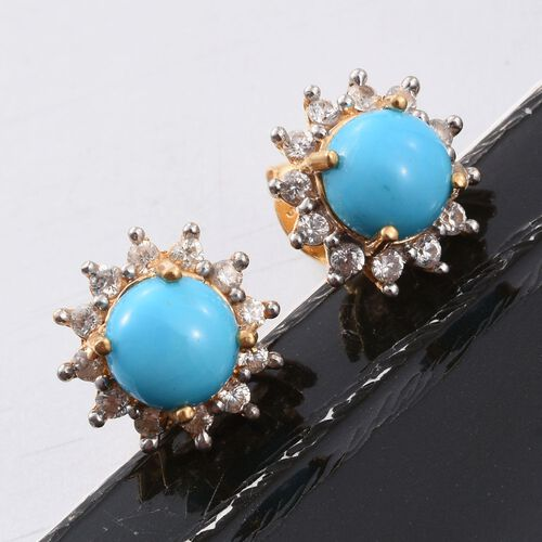 Arizona Sleeping Beauty Turquoise (Rnd), Natural Cambodian Zircon Stud Earrings (with Push Back) in 14K Gold Overlay Sterling Silver 1.750 Ct.